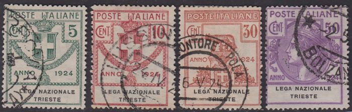 Kingdom of Italy 1917/1924 - State-controlled organisations with overprint LEGA NAZIONALE TRIESTE complete series - Sassone NN. 42/45 S2908