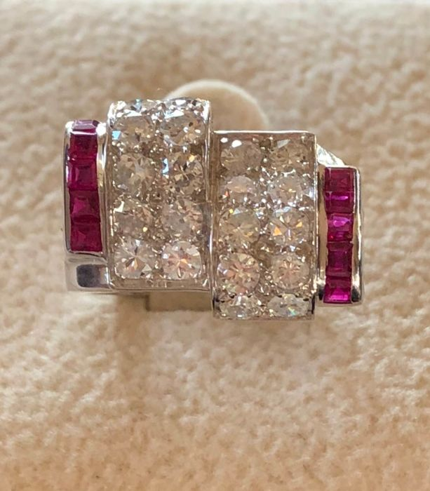 18 kt. White gold - Ring - 1.00 ct Diamond - Ruby