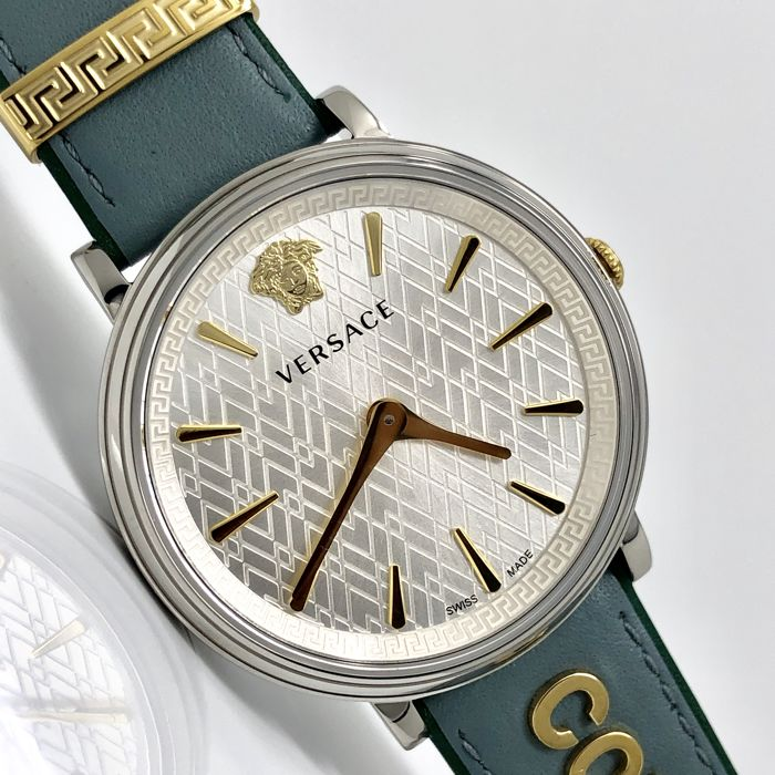 Versace - COURAGE Blue Manifesto Leather IP Gold Swiss Made extra strap - VBP010017  - Dames - 2011-heden