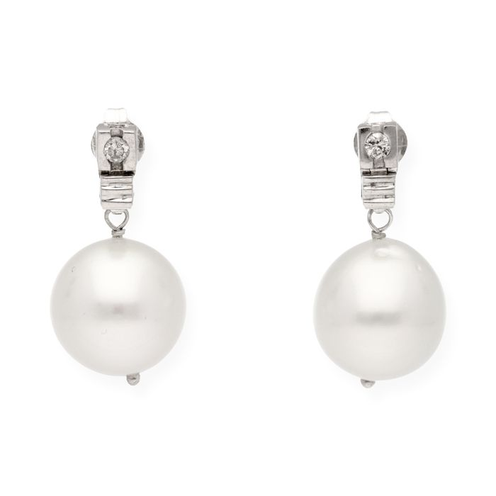 18 ct. Aur alb, South sea pearl - Cercei - 0.15 ct Diamant