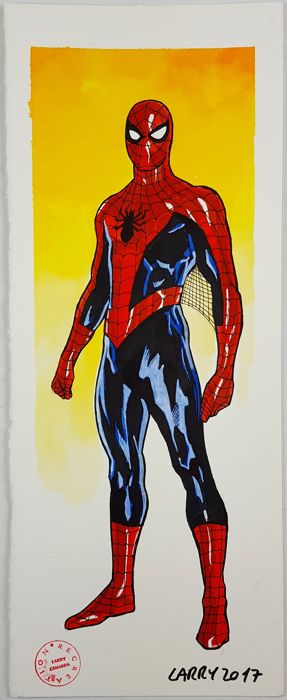 Larry Camarda - Spiderman Pin-up original artwork - Loose page - (2017)