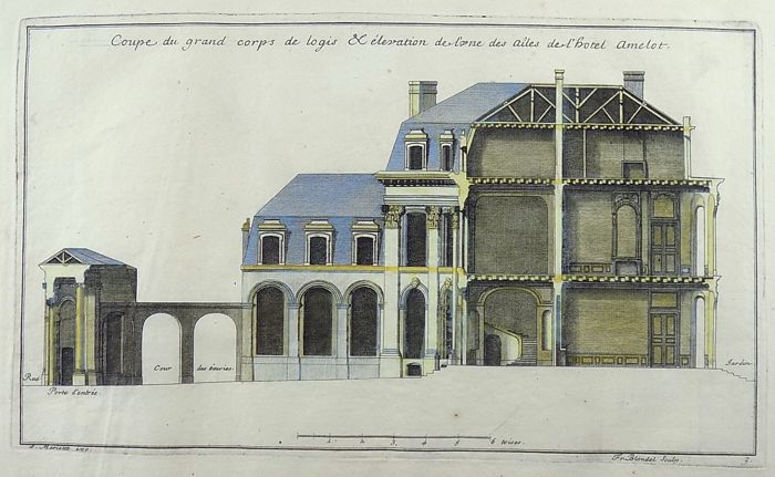 3 engravings by Jean Mariette 1660–1742; Blondel - Chateau Amelot, France - hand coloured - 1711