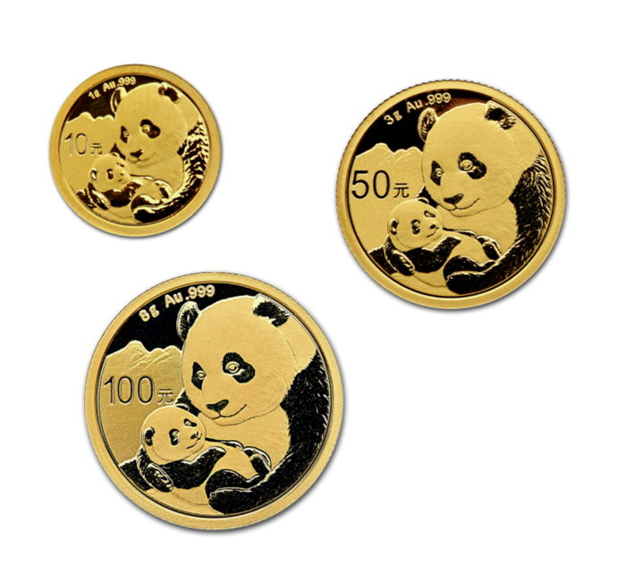 Chine - 10, 50 & 100 Yuan 2019 'Panda Set' 1 + 3 + 8 gram   - Or