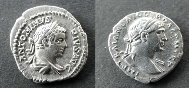 Roman Empire - Lot comprising 2 Denarii: Trajan (AD 98-117) / Caracalla (AD 198-217)  - Silver