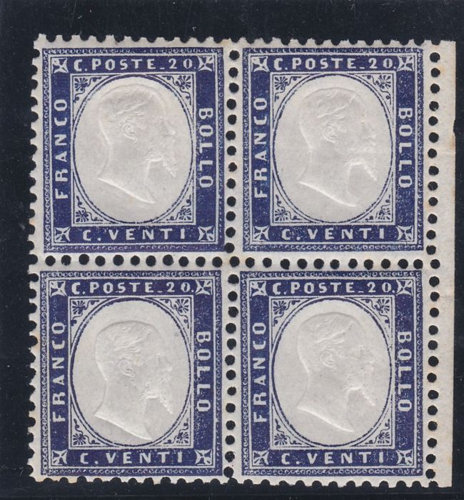 Italy Kingdom 1862 - Block of four of 20 cents - Sassone N. 2