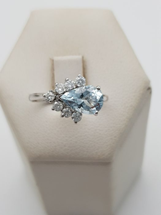 18 kt. White gold - Ring - 0.35 ct Diamond - Aquamarine
