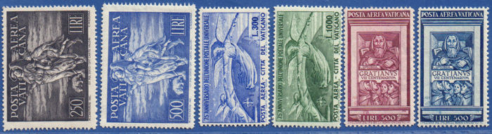 Vatican City 1948/1951 - Tobiah, UPU and Gratian airmail complete sets MNH - signed Diena - Sassone S.502, S.503, S.504