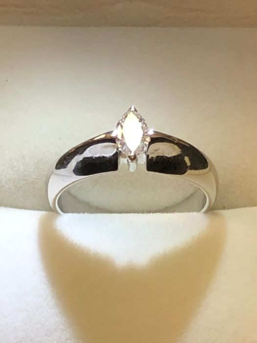 18 kt. White gold - Ring - 0.43 ct Diamond