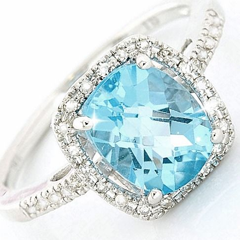 14 kt. White gold - Ring - 4.30 ct Topaz - Diamond