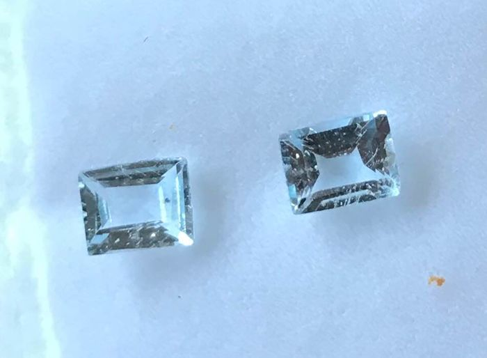 2 pcs  Aquamarine, No reserve price - 1.00 ct