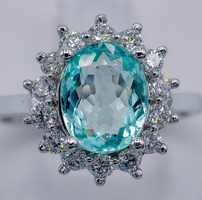 "18kt - Anillo de oro blanco - 1.43 ct ""Paraiba"" Turmalina - Diamantes VS de 0,46 ct"