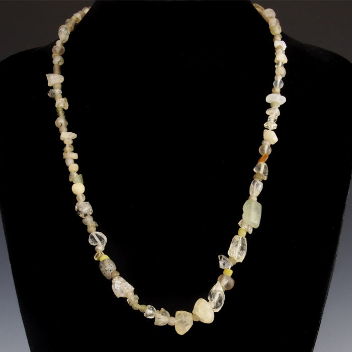 Ancient Roman Glass Necklace with glass and rock crystal beads - (1)