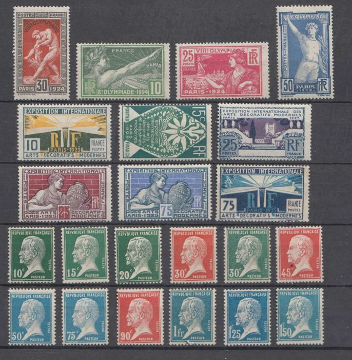 France 1923/1924 - Three complete series - Yvert 170 à 186, 210-215