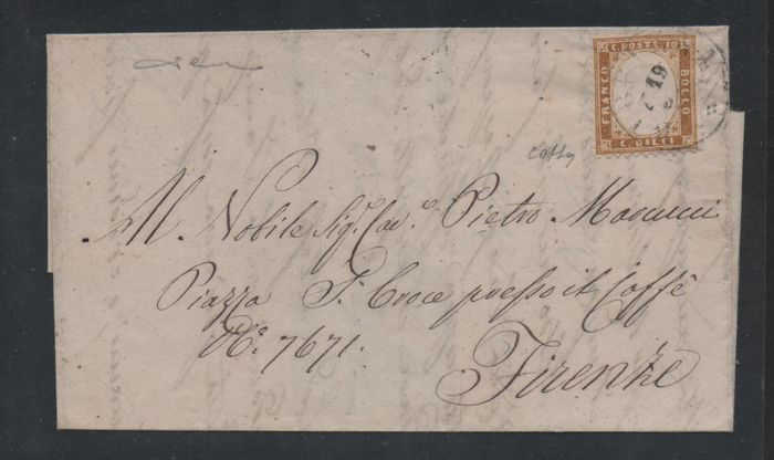 Italy Kingdom 1862 - 10 cents yellowish bistre on letter from Bibbiena to Florence - Sassone N. 1