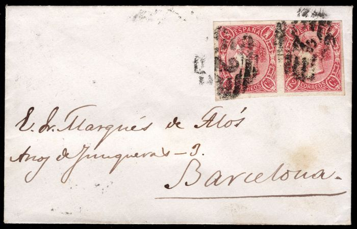 Spagna 1865 - Isabella II. Circulated letter. Double postage, domestic post from Barcelona - Edifil 74(2)