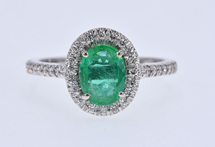 18 kt. White gold - Ring - 1.65 ct Emerald - Diamond