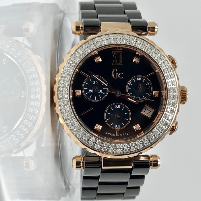 Guess Collection - 106 Diamonds Black Ceramic Chronograph GC Precious Collection Swiss Made  - A22105M2 - Damen - 2011-heute
