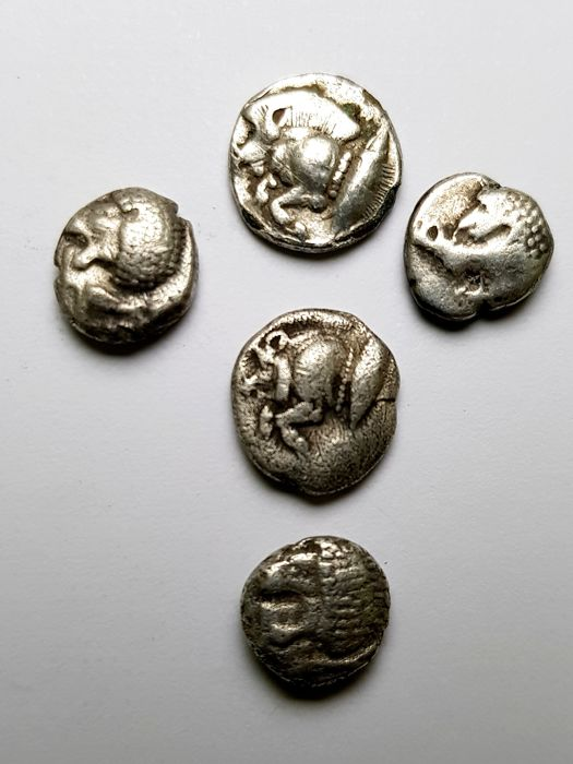 Greece (ancient) - Mysia/Ionia. Lot of 5 AR Diobols: 6th-5th century BC - Silver