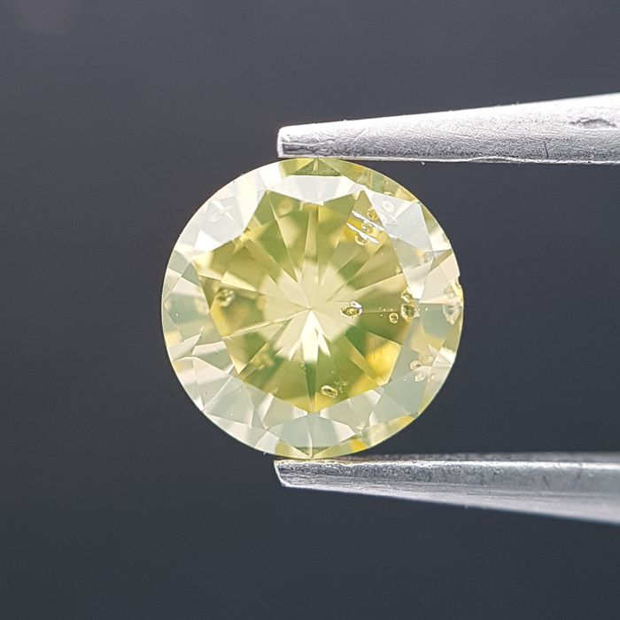 Diamante - 0.53 ct - Brilhante - fancy brownish greenish yellow - GIA Colored Certified