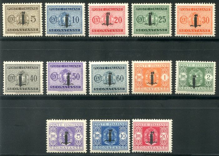 Italy 1944 - RSI - Postage-due stamps overprinted small fasces, set of 13 values - Sassone NN. 60/72