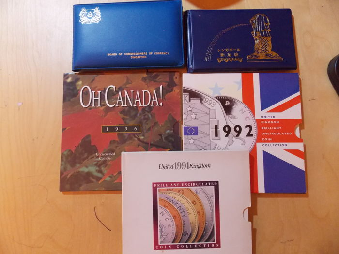 Canada, Singapore, United Kingdom - Lot various coins in sets 1982/1996 (5 items)