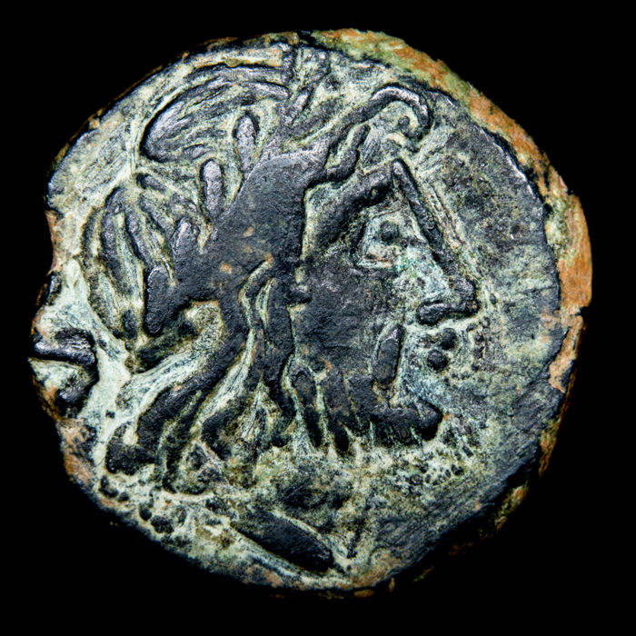 Roman Empire - Hispania. Anonymous AE Semis, imitative issue, 209 - 200 BC. Saturn head / prow of galley. ROMA
