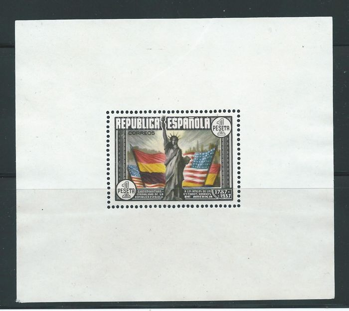 Spagna 1938 - USA Constitution miniature sheet. Error without numbering and grey background - Edifil 764na