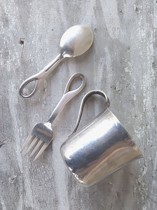 Baby cup, spoon and fork (3) - .925 silver - Elsa Peretti - Tiffany & Co - U.S. - 1984