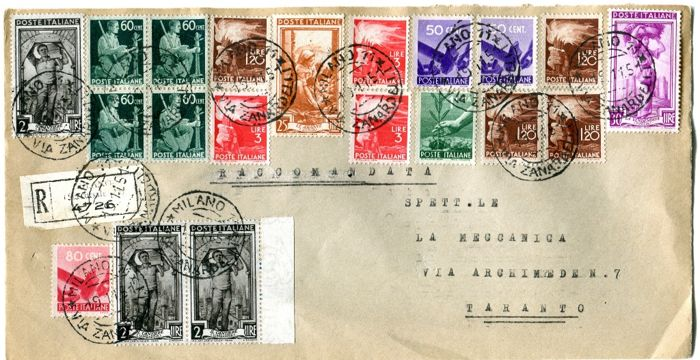 Italy Republic 1945/1950 - Two envelopes with multiple postage with values of the series Democratic and Italy at Work - Sassone vari