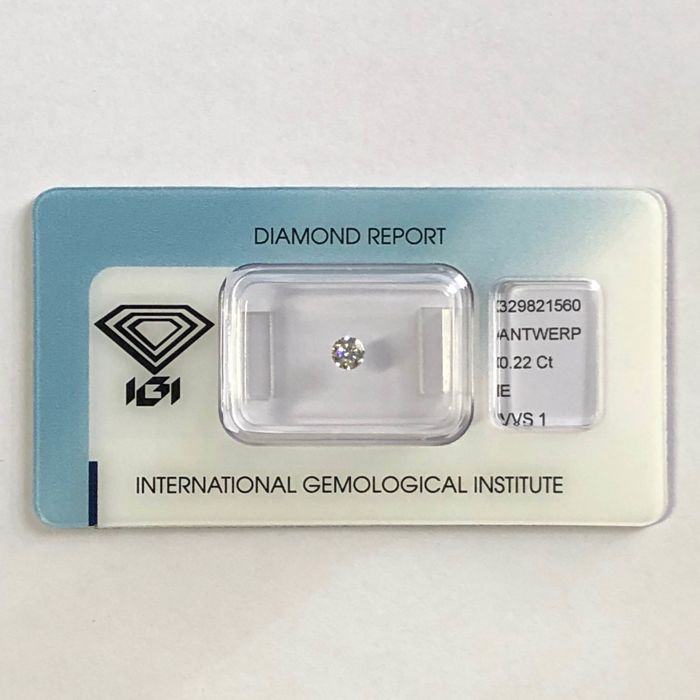 1 pcs Diamante - 0.22 ct - Brillante - E - VVS1