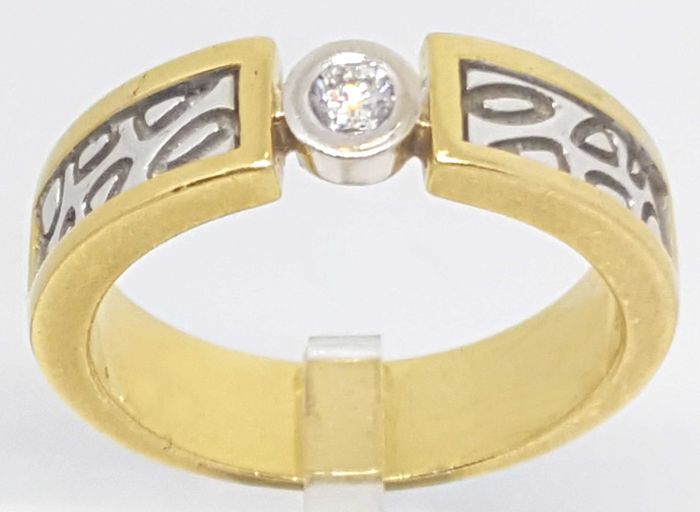 18 carats Or blanc, Or jaune - Bague - 0.12 ct Diamant