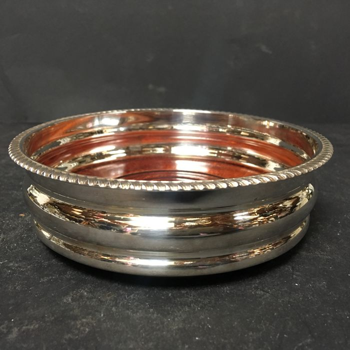Very nice bottle holder - silver-plated and wood - U.K. - 1950-1999
