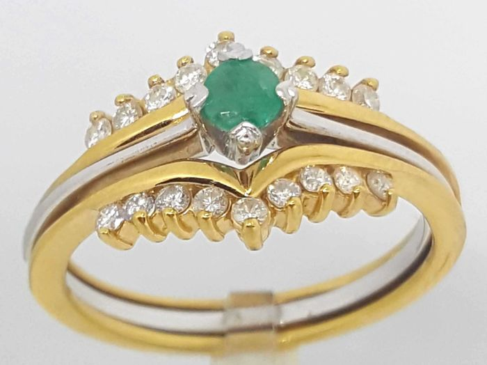 18 kt. White gold, Yellow gold - Set of 4 interchangeable rings - 0.55 ct Diamond - Emerald, Ruby, Sapphire