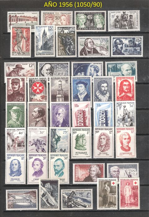 France 1956/1959 - Four years mounted in stock cards - Yvert 1050/1229