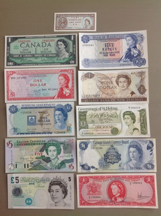World - 18 different banknotes - All with Queen Elizabeth II - All UNC