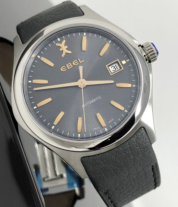 Ebel - Wave Automatic Gray Galvanic Dial - Leather Strap - 1216332 - Heren - BRAND NEW