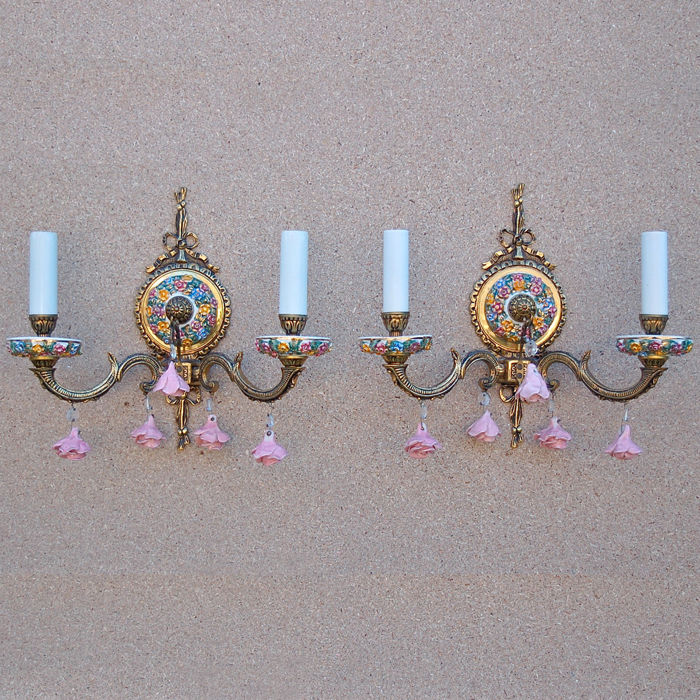 Brass and Porcelain Floral Wall Lights