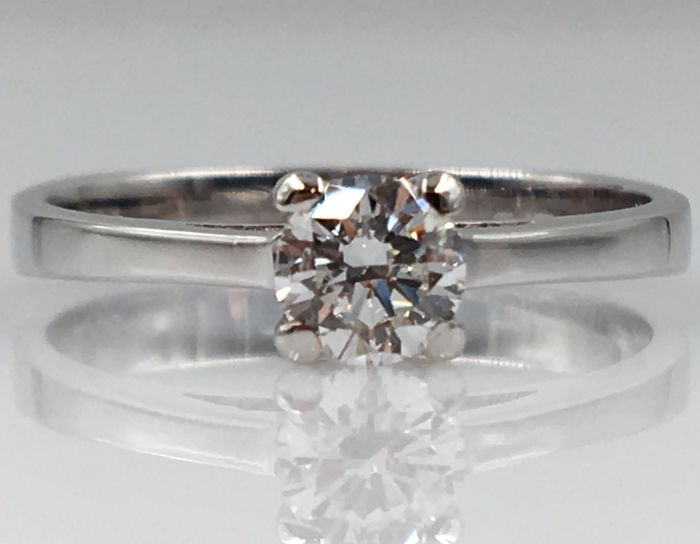 14 kt. White gold - Ring - 0.41 ct Diamond