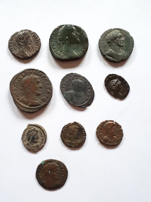 Roman Empire - Lot comprising 10 Roman coins: including 2 AE Sesterii, Philip I (AD 244-249) / Antoninus Pius (AD 138-161)