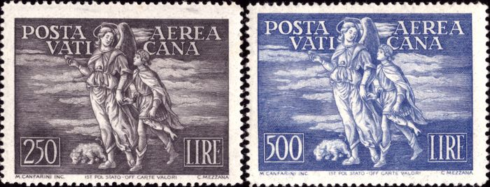 Vatican City 1948 - Archangel and Tobias - airmail - complete set perfect and certified - Sassone N. S502