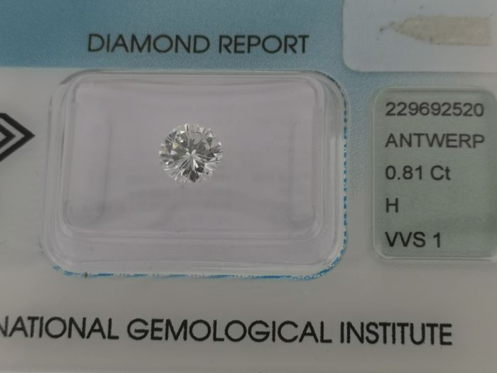 1 pcs Diamond - 0.81 ct - Briliáns - H - VVS1