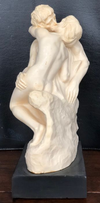 A. Santini - Sculpture Rodin the kiss / the kiss - Marble and alabaster resin