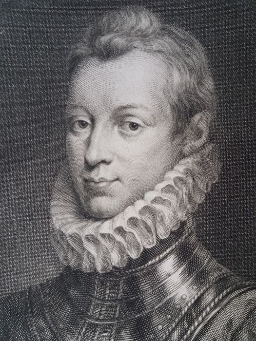 After Isaac Oliver (1565-1617), by Jacobus Houbraken (1698-1780) - Portrait of Sir Philip Sydney