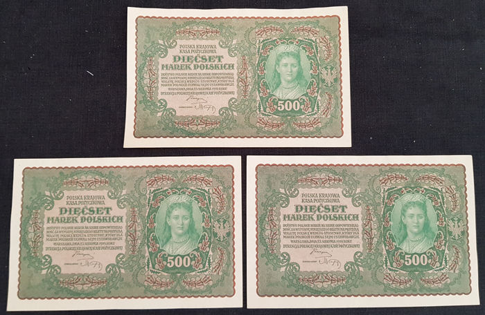 Poland - 3 x 500 Marek 1919 - Pick 28 - Consecutive numbers