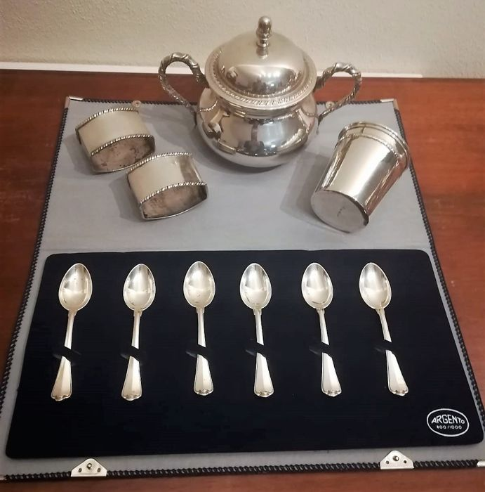 San Marco style coffee set (10) - .800 silver - Italy - Second half 20th century