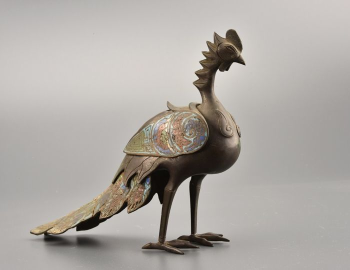 Wierookvat (1) - Brons, Emaille - Fine phoenix bird censer with enameled wings and tail - Japan - 19e eeuw