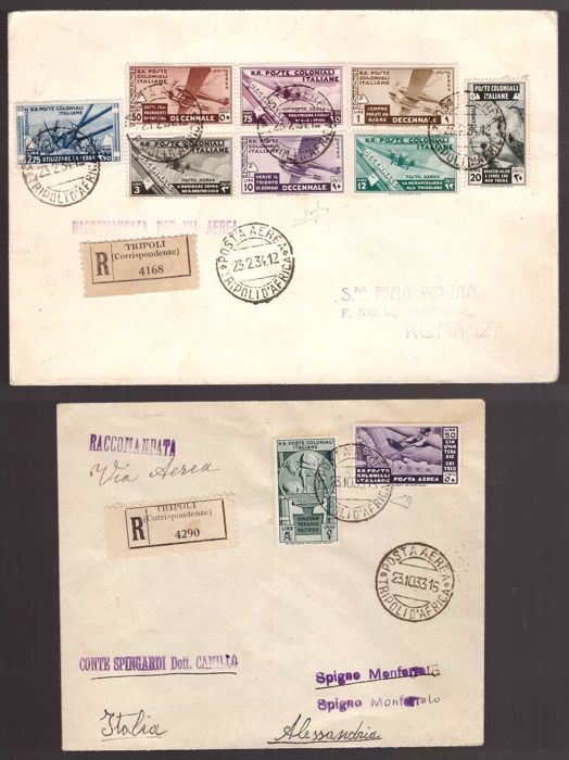Italy - Colonies (general issues) 1933 - Two registered letters with multiple postage