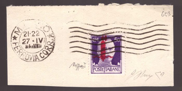"Italy 1944 - RSI - 50 c. Imperial overprint mix-up, red ""small fasces"" on fragment - Sassone N. 493BA"