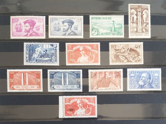 France 1934/1936 - Selection of stamps and sets - entre Yvert 296 & 329