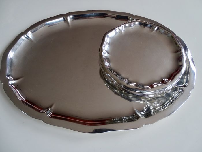 Tray with 6 coasters - .835 silver - Germany - Around 1900